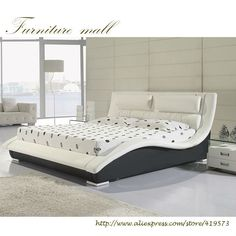High Quality Bedroom Furniture, Genuine Leather Bed ONLY With Storage Type: Bedroom Furniture Specific Use: Home Bed Size: Double Bed Surface Fabric: Genuine Black Bedroom Furniture, Bed Furniture, Furniture Design, Master Bedroom Design, Modern Bedroom, Silver Bedroom, Light Bedroom, Leather Bed, Bedroom Layouts