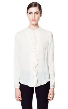 BLOUSE WITH FRONT FRILL - Tops - Woman   ZARA United States