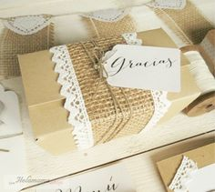 package wrapping ... brown paper ... burlap ribbon ... crochet lace .. twine ...