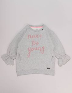 The grey marl Replay sweatshirt has cute, elasticated cuff, bell sleeves with inlet pockets to the waist and pink glitter text print to the front. Slogan Tee, Graphic Sweatshirt, Glitter Text, Winter Essentials, Junior Outfits, Replay, Bell Sleeves, Grey, Sweatshirts