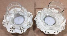 Yankee Candle Pair Ceramic Tealight Holder Snowflakes and Lace with Globes VGC!!  | eBay