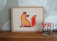 free fox cross stitch patterns | Embroidery: Retro Fox Cross Stitch