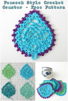 Peacock Style Crochet Coaster - Free Crochet Pattern #crochetlove