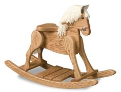 The rocking horse is made out of solid wood so it will last decades in your home despite everyday use.  Ask the Amish Furniture Factory about staining or painting this rocking horse to match your home. http://www.amishfurniturefactory.com/