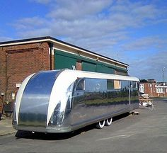 Vehicle History - The Silver Rocketeer - Mobile Cocktail Lounge - Available to hire for weddings, parties and events Old Campers, Vintage Campers Trailers, Retro Campers, Airstream Trailers, Vintage Caravans, Vintage Motorhome, Camping Glamping, Camping Ideas, Camping Supplies