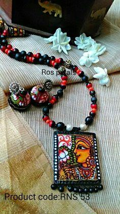 Kerala mural Lakshmi jewellery from Ros petals. Its fully hand painted on terracotta.