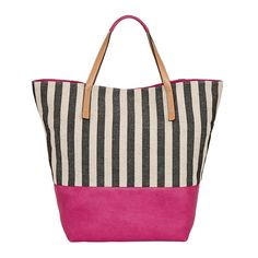 Lilac + Black Striped Canvas Beach Tote - JCPenney