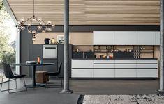 wood / white / black kitchen