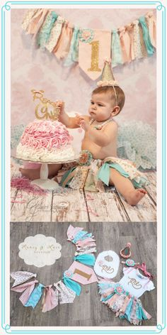 Cotton Candy Gold Collection | Banner | Tutu | Shirt | Bubblegum necklace | Bib | Hat | Headband | Cake Smash Outfit | Baby Girl| #etsy #ad #firstbirthday