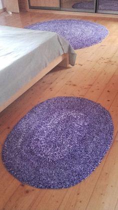 dywaniki ze szmatek na szydełku