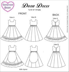 Wedding Dress Patterns, Doll Dress Patterns, Clothing Patterns, Sewing Patterns, Monster High Doll Clothes, American Girl Dress, Girls Dresses, Doll Dresses, Collection