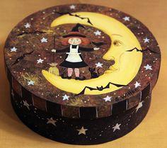 Original Halloween Folk Art  Hand Painted Round by Ravensbend, $15.00