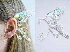 Creating DIY Fashion Trends – Designer Fashion Tips Diy Fairy Wings, Diy Wings, Wing Earrings, Cuff Earrings, Elf Ear Cuff, Ear Cuffs, Elfen Fantasy, Diy Accessoires, Fairy Jewelry