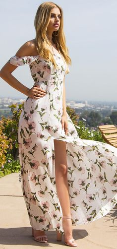 White Flower Print Off The Shoulder Maxi Dress