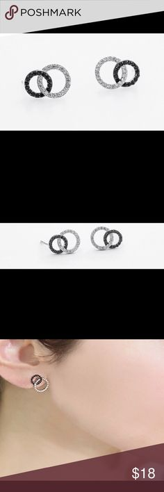 """PRICE DROP: Sterling Silver Double Circle Earrings 🎄 These are Double Circle Stud Earrings. They is a white and black Zircon circle. These are simple but can be worn casual or dressy. They measures: 1/2""""L X 5/16""""W X 1/16""""D. Jewelry Earrings"""