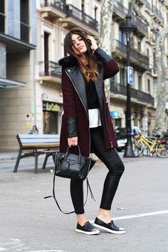 Maroon jacket, black pants