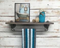 Hey, I found this really awesome Etsy listing at https://www.etsy.com/listing/256947992/industrial-towel-rack-shelf-rustic