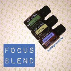 Diffuse *2 drops rosemary essential oil promotes focus and concentration *3 drops lemon EO helps to purify the air and rid the air of unwanted germs *3 drops peppermint EO to promote clear breathing and alertness. Rosemary is the oil of knowledge and lemon is the oil of focus which makes this blend perfect for when you need a little help concentrating and it doesn't hurt that people constantly ask what smells so good #doterra #aromatherapy (from ashleyjeanmarie on Instagram)
