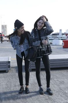 Ashika and Derya outside the fashion week venue.  Hey, here are a couple of shots from OUTSIDE the actual...