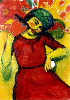 :Hermann Max Pechstein Mädchen mit rotem Fächer, 1910 Max Pechstein (Ger. 1881-1955)Girl with a red fan (1910)