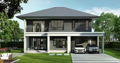 เศรษฐสิริ ปิ่นเกล้า - กาญจนาฯ Beautiful House Plans, Modern House Plans, Beautiful Homes, Villa, Small House Design, Paint Colors, Design Inspiration, Exterior, Colours