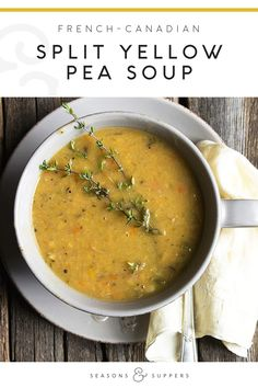 Hearty and delicious yellow split pea soup, with vegetables and cooked with a ham hock bone. Hearty and delicious yellow split pea soup, with vegetables and cooked with a ham hock bone.