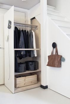 To show the different uses for storage compartments - can create a larger space for jackets bags etc & still use space efficiently.