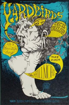 Yardbirds Poster - Rock posters, concert posters, and vintage posters from the Fillmore, Fillmore East, Winterland, Grande Ballroom, Armadillo World Headquarters, The Ark, The Bank, Kaleidoscope Club, Shrine Auditorium and Avalon Ballroom.