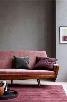 Pink sofa and rug