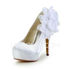 Sapatos de casamento - $66.69 - Mulher Cetim Salto agulha Fechados Plataforma Plataforma com Flor de Cetim (085026895) http://jjshouse.com/pt/Mulher-Cetim-Salto-Agulha-Fechados-Plataforma-Plataforma-Com-Flor-De-Cetim-085026895-g26895