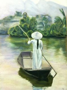 Beautiful painting of lady in boat, so serene. Sketch Painting, Watercolor Paintings, Beautiful Vietnam, Music Drawings, Lake Art, Art Asiatique, Prophetic Art, Human Art, Illustrations And Posters