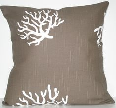 """Taupe & White Coral Pillow Cover 18"""" x 18"""" $20"""