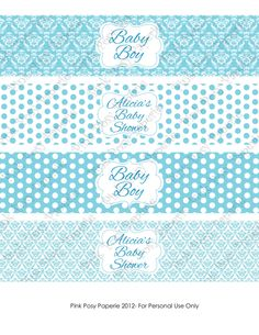 Printable Simply Blue Boy Baby Shower Water Bottle Wrappers. $4.00, via Etsy.