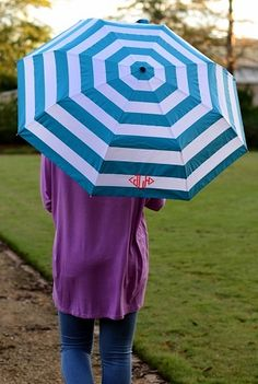 Aqua Stripe Monogram Umbrella | underthecarolinamoon.com  You can brighten even the rainiest of days with this monogrammed umbrella. #UTCM #UnderTheCarolinaMoon #Umbrella #monogram #MonogramUmbrella #monogrammedUmbrella #AquaStripe
