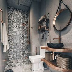 Shower tiles used perfectly for unique #homedecor #bathroom accent @istandarddesign