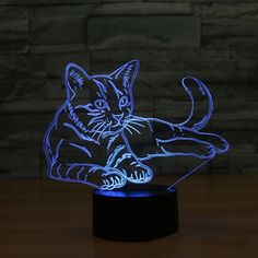 Cheap mood lamp, Buy Quality night light directly from China night light Suppliers: Cat Night Light Animal Changeable Mood Lamp LED 7 Colors USB Illusion Table Lamp For Home Decorative As Kids Toy Gift Neon Cat, Cat Lamp, Mood Lamps, Led Night Light, Night Lights, Night Lamps, Led Lampe, Light Table, Desk Light