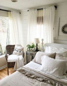 Home Curtains Bedroom Room Furniture Bed Interior design White Stylish Bedroom, Cozy Bedroom, Bedroom Decor, Bedroom Curtains, Farm Bedroom, Bedroom Ideas, Gray Curtains, Bedroom Rustic, Bedroom Lighting