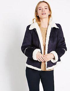 PETITE Shearling Slip Pocket Jacket
