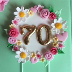 Ideas For Birthday Cake Fondant Woman Flowers Number Cake Toppers, Fondant Cake Toppers, Number Cakes, Fondant Cakes, Cupcake Cakes, Birthday Cake Fondant, 70th Birthday Cake, Birthday Cake Toppers, Fondant Numbers