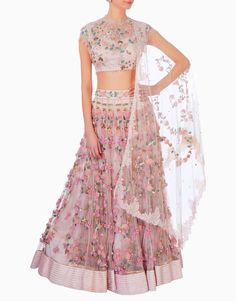 Chantilly lace and tulle lehenga, crop top and dupatta. Lace and tulle embroidered fully with hand with various techniques, crystals, beading, ribbon embroidery, and zardozi. Fabric: Chantilly Lace / Tulle / Satin Care: Dry Cleaning Only