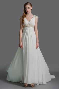 Vintage Empire Waist Maternity Chiffon Wedding Dress JSWD0270