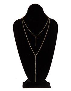 Double Golden Bar Drop Pendant Necklace