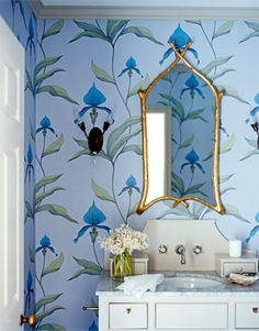 I am currently considering adding wallpaper to my bath/powder room. Do you like the look of wallpaper in t… Orchid Wallpaper, Bathroom Wallpaper, Of Wallpaper, Amazing Wallpaper, Bathroom Color Schemes, Bathroom Colors, Blue Bathrooms, Bathroom Ideas, Romantic Bathrooms