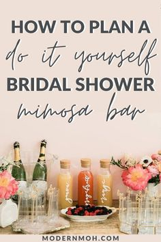 How to plan a DIY bridal shower mimosa bar- including recipes, signs, and other decoration ideas. Bridal Shower Planning, Bridal Shower Games, Bridal Shower Decorations, Bridal Shower Invitations, Bridal Showers, Wedding Planning, Party Planning, Invites, Bubbly Bar