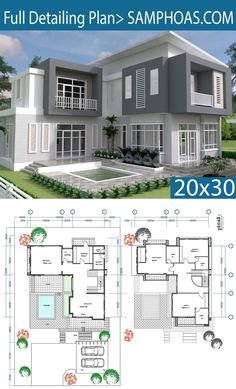 3 Schlafzimmer Modern Home Plan - SamPhoas Plansearch - home design with layout plan - Free House Design, Simple House Design, Modern House Design, The Plan, How To Plan, Home Design Floor Plans, House Floor Plans, Home Plans, Modern House Plans