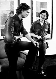Mathew Gray Gubler and Jackson Rathbone on the set of Criminal Minds
