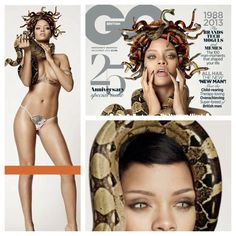 Rihanna had done a GQ magazine cover. What is strange is she allowed herself to be ask to do the photoshot with a large snake. If that wasn't bad enough she was photoshopped for the final project with snakes on her head (like Medusa) and her eyes are like that of a snake. Illuminati demonic princess.