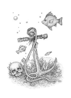 Underwater mysteries. Anchor, human skull and fish. Black and white ink artwork.