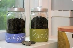 Glass storage jars labeled with tinted chalkboard paint and chalk