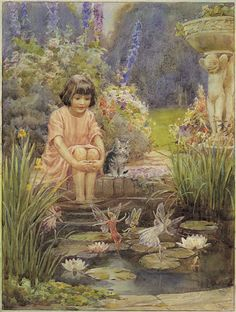 'The Water Lily Pond' by English illustrator Margaret Winifred Tarrant Art Magique, Baumgarten, Fairy Pictures, Vintage Fairies, Lily Pond, Flower Fairies, Fairy Art, Magical Creatures, Oeuvre D'art